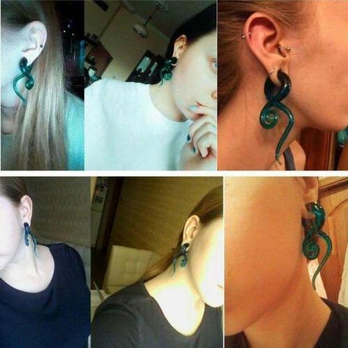 Pair Glass Spiral Ear Ear Plugs