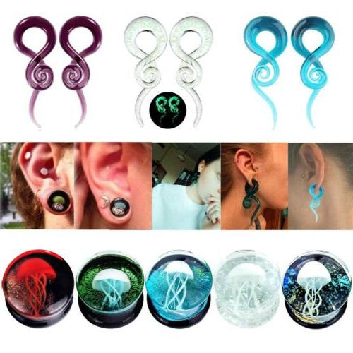 pair glass spiral tapers ear gauges stretching