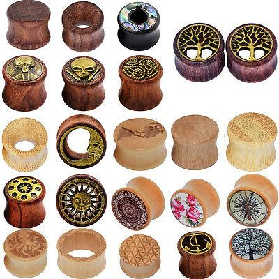 pair natural wood ear gauges flesh tunnels
