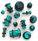 PAIR-Organic-Blue Aqua Teal Agate Stone Single Flare Ear Plu