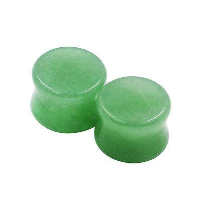 "PAIR Organic Stone Ear Gauges Double Piercing 2g-5/8"""