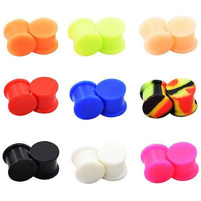 pair solid large lip silicone ear gauges