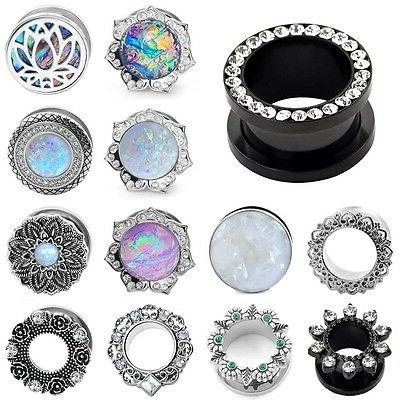PAIR Stainless Steel Synthetic Opal CZ Gem-Screw EAR GAUGE P