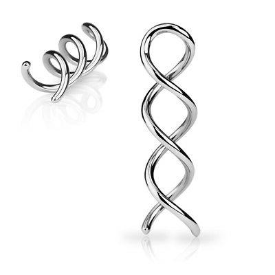 PAIR Surgical Steel Swirl Twist Tapers Ear Plugs Earrings Ga