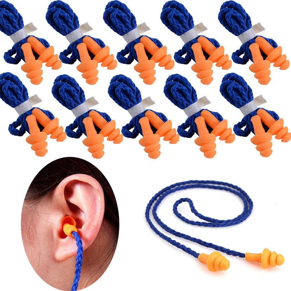 50Pcs Soft Silicone Corded Ear Plugs Reusable Hearing Protec