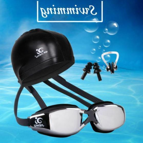 swimming glasses hat ear plugs nose clip