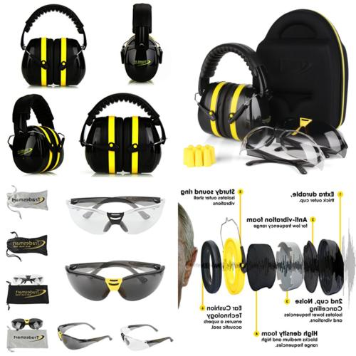 TRADESMART Shooting Muffs Protective Case Safety Glasses Earplugs