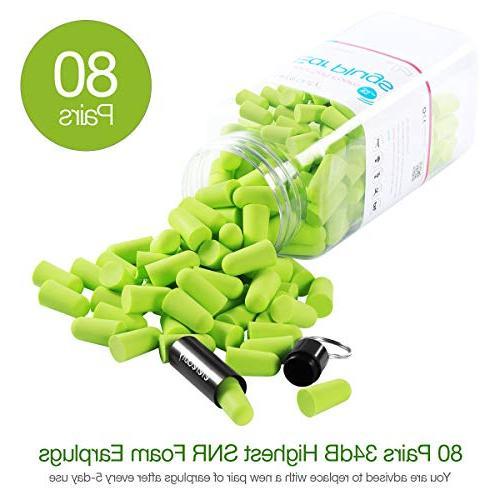 Ultra Soft Foam Plugs for Sleeping, 80 Pcs Reduction Earplugs Quiet 34dB High for Sleep, Snoring, Working, Travel -