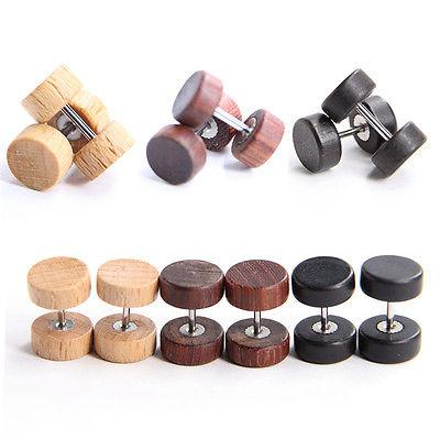 Wood Stainless Steel Fake Cheater Ear Plugs Barbell Stud Ear