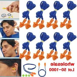 Lot 1000 Pairs Silicone Corded Ear Plugs Reusable Hearing Pr