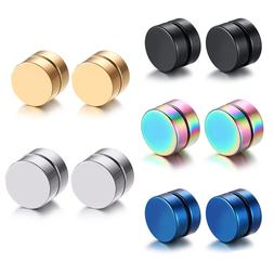 Men Women Stainless Steel Stud Earrings Magnetic Ear Plugs N
