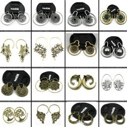 New 2Pcs Brass Ear Weight Style Mixed Tribal Earings Taper E