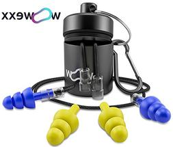 Noise Cancelling Ear Plugs with Cords + Carry Case - Super