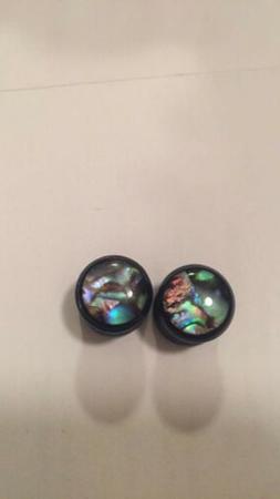 Pair Abalone Black Wood Ear Plugs - Organic Saddle Gauges Ea