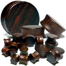 Pair Black Walnut Wood Flat Ear Plugs - Organic Saddle Gauge
