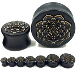 Pair Black Wood Ear Plugs W/Brass Lotus Flower - Organic Gau