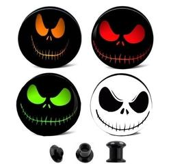 PAIR- CREEPY SMILEY FACE EAR GAUGES EAR PLUGS FLESH TUNNELS