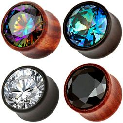 Pair Cubic Zirconia Stone Wood Ear Plugs Organic Saddle Gaug