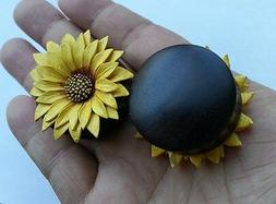 Pair Extreme Giant Gauges Leather Daisy Sun Flower Sono Wood