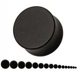 Pair Flat Ebony Wood Ear Plugs - Organic Saddle Gauges Earri