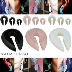 Pair Keyhole Pink Opal Ear Weight Hanger Stretcher Expander