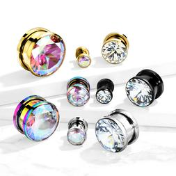 PAIR Large Clear or AB Gem PVD Plated Screw Fit Tunnels Ear
