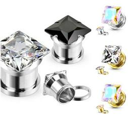 PAIR Large Square CZ Gem Steel Screw Fit Tunnels Ear Plugs G