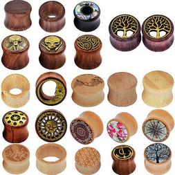 PAIR Natural Wood Ear Gauges Flesh Tunnels Double Flared Ear
