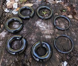 Pair Organic Obsidian Hoop Stone Tribal Circular Hanger Ear