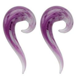 Pair Purple Glass 7/16 1/2 9/16 Ear Plugs Tapers Spirals Hor
