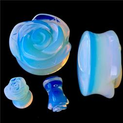 PAIR-ROSE HAND CARVED-ORGANIC Opalite Ear gauges-Ear Plugs-F