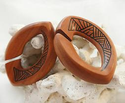 Pair Sawo Wood Ear Weights Tribal Cutout Oval Flared Ear Plu
