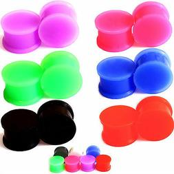 PAIR-SOLID LARGE LIP Silicone Ear Skins-Ear Gauges-Soft Ear