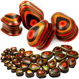 Pair Teardrop Colorful Wood Ear Plugs - Organic Saddle Fit G