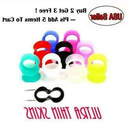 PAIR-ULTRA THIN SKINS TUNNELS-Silicone Ear Skins-Ear Gauges-