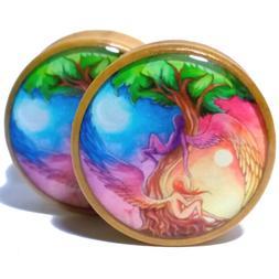 Pair Wood Ear Plugs Organic Gauges Flesh Tunnels Earrings Da