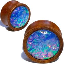 Pair Wood Ear Plugs w/Synthetic Blue Opal Organic Saddle Gau