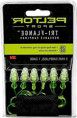 Peltor Sport Tri-Flange Corded Reusable Earplugs, 3-Pair Per