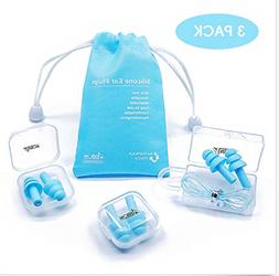 Reusable Silicone Ear Plugs - ANBOW Waterproof Noise Reducti