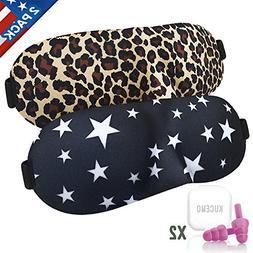 Sleep Mask 2 Pack with Earplugs, Comfortable & Soft Night Ey