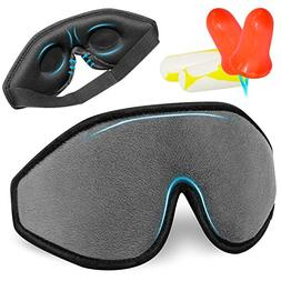 Sleep Mask, 3D Contoured Sleeping Eye Mask with 2 Pack of Ho