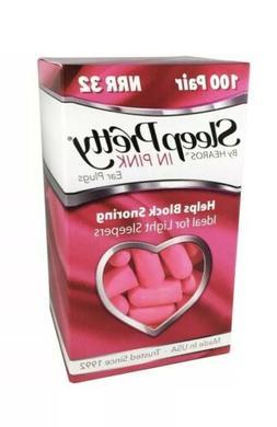 HEAROS Sleep Pretty in Pink Womens Ear Plugs, 100 Pair