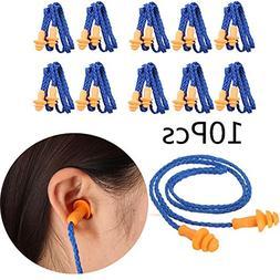 Yalulu 10 Pairs Soft Silicone Ear Plugs Ears Protector Reusa