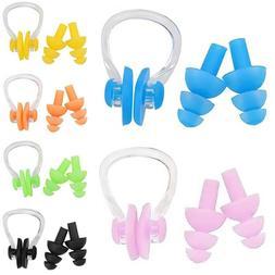 Soft Swimming Silicone Ear Plugs & Nose Clip Set Swim Water