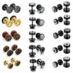 Stainless Steel Womens Mens Stud Earrings Dumbbell Barbell E