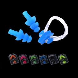 Swimming Diving Waterproof Silicone Soft Nose Clip Ear Plugs
