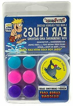 PUTTY BUDDIES Original Swimming Earplugs 3-Pair Pack Purple/