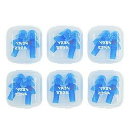 swimming earplugs saty put 6 PAIRS, silicone ear plugs for s