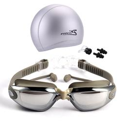 Swimming glasses and hat equipment set ear plugs nose waterp