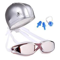 Fheaven Swimming Goggles + Swimming cap+Earplugs+Nose clip W